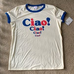 NWT LuLaRoe Liv Ciao Red White Blue T-Shirt Sz XL